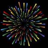Explosie van vuurwerk Het gloeien lichteffecten Abstracte heldere kleurrijke lijnen, stralen Achtergrond met pyrotechnic salut Ve vector illustratie