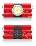 Explosief dynamiet en uurwerk vectorillustrati stock illustratie