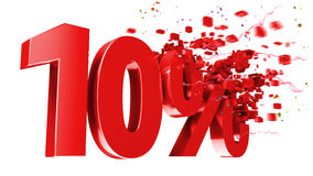 Explosif 10 pour cent hors fonction sur le fond blanc Image stock