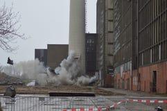 Explosion à la centrale électrique l'ijsselcentrale Photos libres de droits