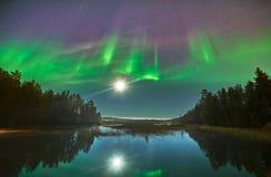 Explosion über Nordlichtern in Schweden Lizenzfreies Stockbild