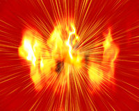 Explosion !. Big vivid red, orange and yellow fiery explosion blast and burst of rays Stock Photography