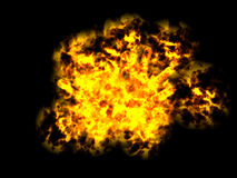 Explosion. In black background. Power. 3d render stock illustration