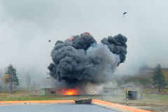 Explosion. The explosion of the ammunition at a military training ground Royalty Free Stock Photography