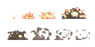 Explosion Animation Icons Set Stock Images