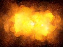 Explosion ardente de bombe sur le fond noir Photos stock