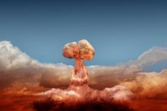 Explosion of atomic bomb Royalty Free Stock Image