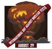 Explosion atomique avec le label pour le jour international contre les essais nucléaires, illustration de vecteur illustration stock