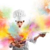 Explosion av färger i köket Royaltyfri Foto