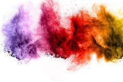 Explosion av färgpulver på vit bakgrund Royaltyfri Fotografi