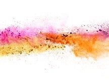 Explosion av kulört pulver på vit bakgrund Royaltyfri Bild