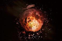 Explosion av månen i utrymme stock illustrationer