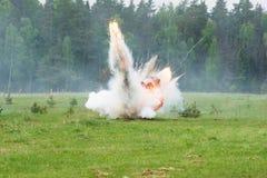 Explosion avec de la fumée Photographie stock libre de droits