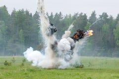 Explosion avec de la fumée Images libres de droits