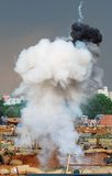 Explosion on the battle field. Royalty Free Stock Image