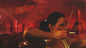 Explosion. Beautiful women watching explosion in a destroyed city stock footage