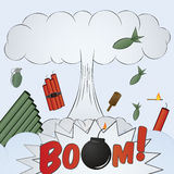 Explosion big bang - cartoon Royalty Free Stock Image