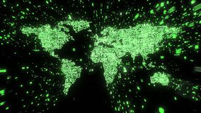 Explosion of binary data around green world map illustrated as digital circuitry royalty free illustration