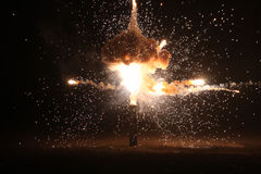 Explosion on the black background Stock Photography