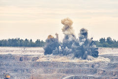 Explosion blast in open cast mining quarry mine Stock Images
