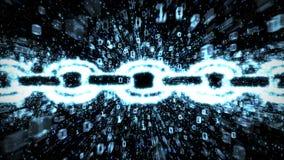 Explosion bleue de binaire de blockchain illustration de vecteur