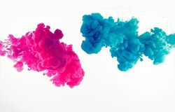 Explosion of blue and mangenta color in water. Explosion of watercolor  blue and mangenta color in water royalty free stock photography