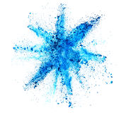 Explosion of blue powder on white background Royalty Free Stock Image