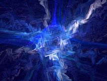 Explosion of a blue star. An abstract fractal background that looks like a powerful explosion in a deep space Stock Photography