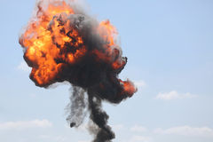 Explosion. A bomb explosion in during a military airshow stock images