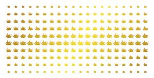 Explosion Boom Golden Halftone Grid. Explosion boom icon gold halftone pattern. Vector explosion boom symbols are organized into halftone grid with inclined gold Stock Images