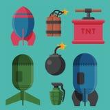 Explosion brûlante de détonation de boule de puissance d'attaque de grenade d'illustration de vecteur de fusible de dynamite de b Images stock