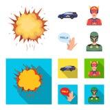 Explosion, brand, rök och annan rengöringsduksymbol i tecknade filmen, lägenhetstil Stålman superforce, skrik, symboler i uppsätt royaltyfri illustrationer