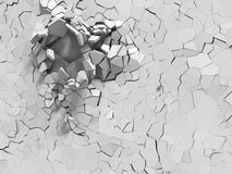 Explosion broken white wall with cracked hole. Abstract backgrou. Nd. 3d render illustration Royalty Free Stock Photo