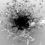Explosion broken white wall with cracked hole. Abstract backgrou. Nd. 3d render illustration Stock Photo