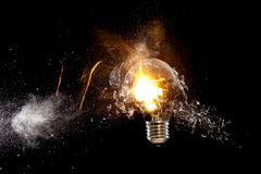 Explosion of bulb. Real explosion of classic electric bulb high speed photo Stock Photography