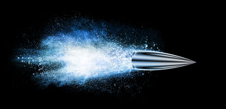 Explosion with a bullet isolated on black Royalty Free Stock Images
