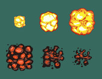 Explosion burst animation vector frames. Effect pixel flame, power explosion pixel art, bright retro animation illustration Stock Photography