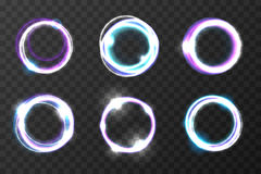 Explosion burst rings vector illustration. Cosmic vortex holes. Glare light circle effect, set of color round Stock Photos