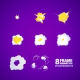 Explosion cartoon animation. 8 frames Vector Illustration