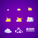 Explosion cartoon animation. 8 frames Stock Images