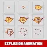 Explosion, cartoon explosion animation frames for game. Sprite sheet on dark background. Smoke animation Stock Photo