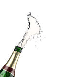 Explosion of champagne bottle Stock Photos
