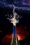 Explosion of champagne bottle cork Royalty Free Stock Image