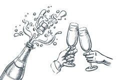 Explosion champagne bottle and two hands with drinking glasses. Sketch vector illustration. New Year, Christmas or Valentines Day stock illustration
