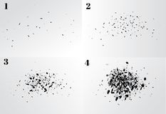 Explosion cloud of black pieces.  illustration. Explosion cloud of black pieces.  illustration Royalty Free Stock Photo