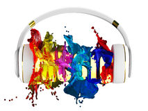 Explosion of color paint from the headphones. blasted word music. each color is assigned path. the object retained its mask. edit Royalty Free Stock Images