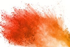 Explosion of colored powder, isolated on white background. Abstract of colored dust splatted. Color cloud. Abstract of colored powder explosion on white stock illustration