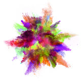 Explosion of colored powder on white background Royalty Free Stock Image