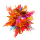 Explosion of colored powder on white background Royalty Free Stock Photo