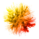 Explosion of colored powder on white background. Explosion of colored powder, isolated on white background stock photo